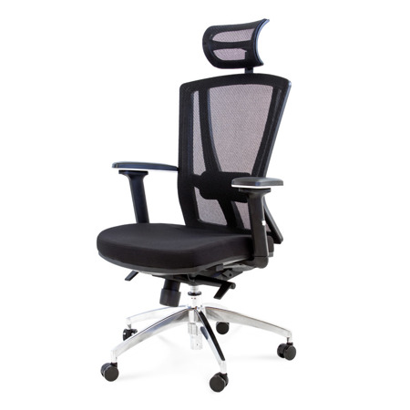 Fotel biurowy obrotowy z regulowanym oparciem i podłokietnikami czarny