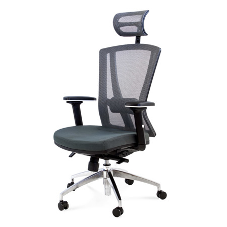 Fotel do biura obrotowy z regulowanym oparciem i podłokietnikami szary