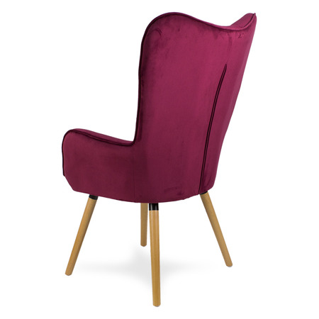 Skandynawski fotel uszak drewniane nogi burgundowy