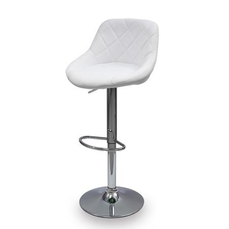Elegancki Hoker Krzesło Barowe Ekoskóra Pikowane Oparcie Biały
