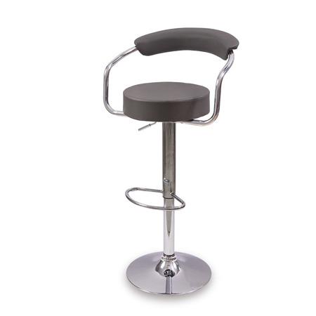 Komfortowe krzesło barowe hoker regulacja wysokości ekoskóra szary