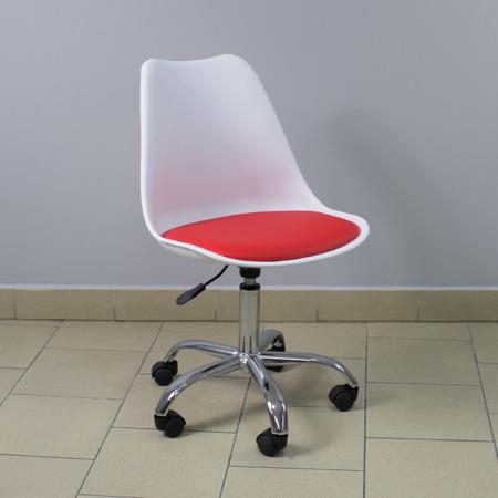 Krzesło fotel obrotowy biurowy z regulowaną wysokością białe z czerwoną poduszka