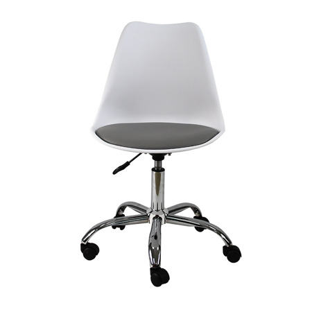 Krzesło fotel obrotowy biurowy z regulowaną wysokością białe z szarym
