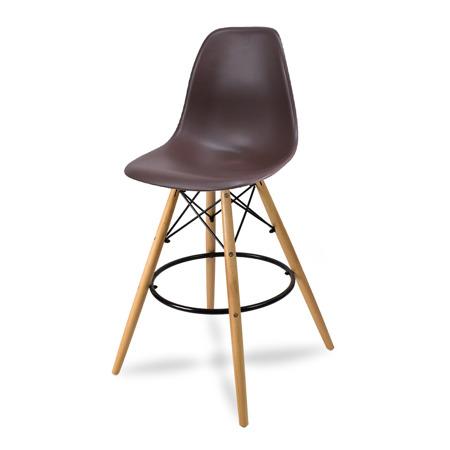 Wysokie krzesło barowe drewniane nogi brązowe