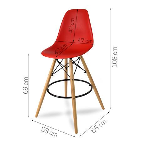 Wysokie krzesło barowe drewniane nogi podnóżek czerwone