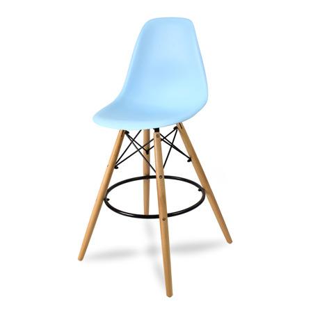 Wysokie krzesło barowe drewniane nogi podnóżek niebieskie