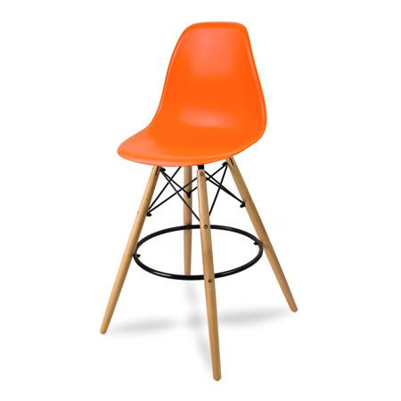 Wysokie krzesło barowe drewniane nogi podnóżek pomarańczowe
