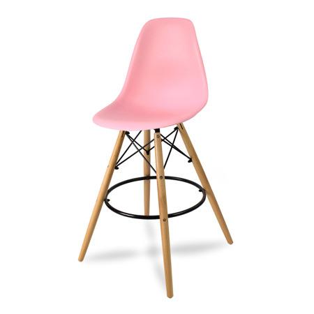 Wysokie krzesło barowe drewniane nogi podnóżek różowe