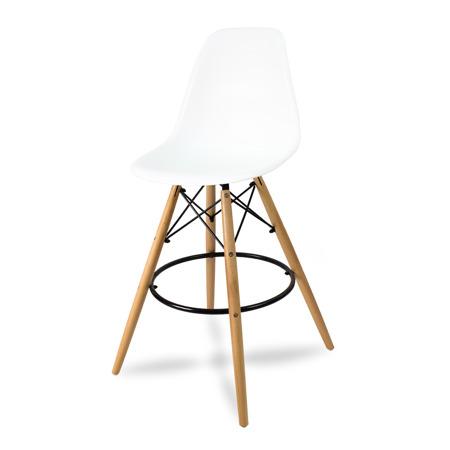 Wysokie krzesło barowe drewniane nogi podnóżek białe