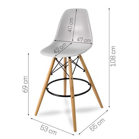 Wysokie krzesło barowe drewniane nogi podnóżek  szare