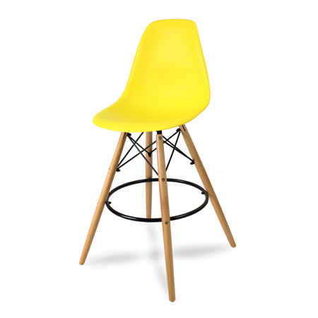 Wysokie krzesło barowe drewniane nogi podnóżek  żółte