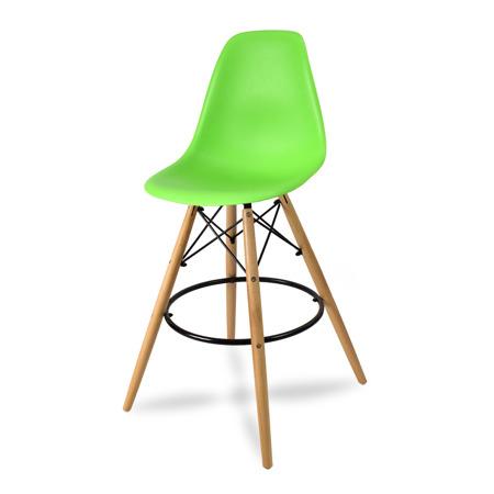 Wysokie krzesło barowe drewniane nogi podnóżek zielone