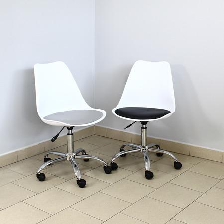 Krzesło fotel obrotowy biurowy z regulowaną wysokością białe