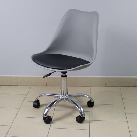 Krzesło fotel obrotowy biurowy z regulowaną wysokością szare