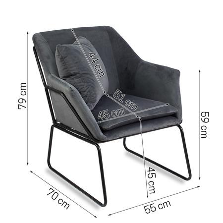 Industrialny fotel wypoczynkowy szary