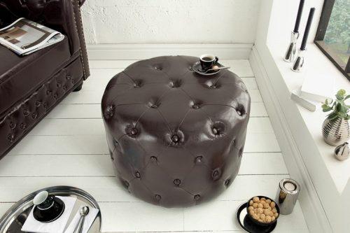 Elegancka pufa  Chesterfield 60 cm ciemnobrązowy okrągły stolik kawowy