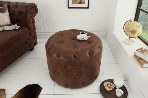 Elegancka pufa Chesterfield okrągły w stylu vintage brązowy 60 cm