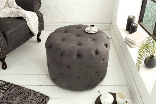 Elegancka pufa Chesterfield 60 cm okrągły szary stolik kawowy