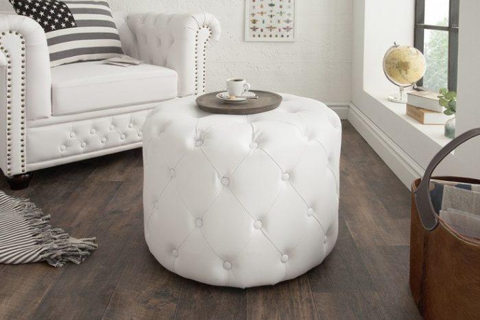 Elegancki Taboret Chesterfield 60 Cm Biały Matowy Okrągły Stolik Kawowy