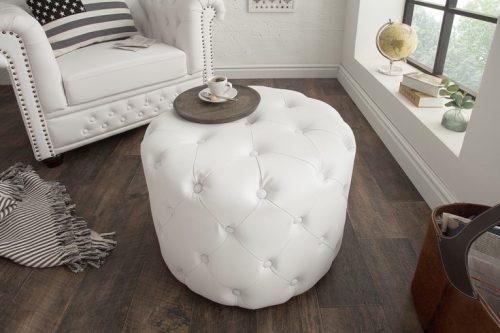 Elegancka pufa Chesterfield 60 cm biały matowy okrągły stolik kawowy