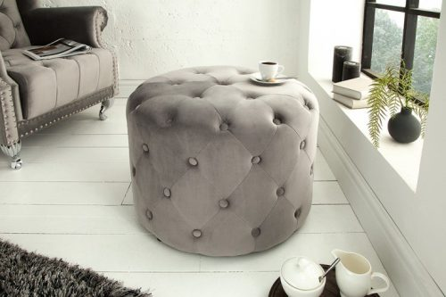 Elegancka pufa Chesterfield 60 cm srebrnoszary aksamitny okrągły stolik kawowy