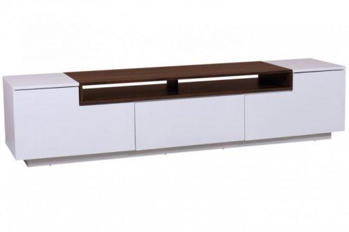 TV Lowboard LOFT 180 cm biały mat element drewniany