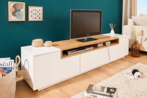 TV Lowboard LOFT 180 cm matowy biały dąb
