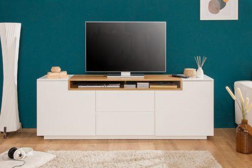 Nowoczesna komoda telewizyjna LOFT 180 cm matowy biały dąb
