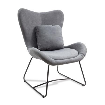 Loftowy fotel uszak metalowe nogi szary