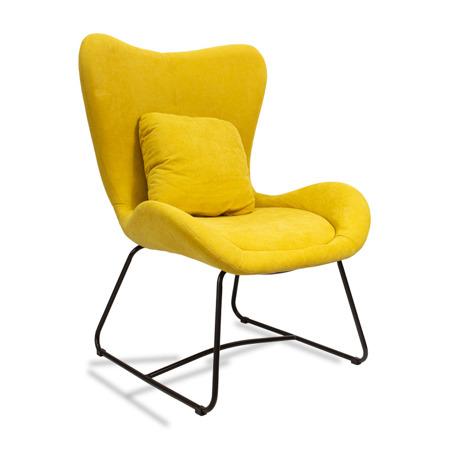 Loftowy fotel uszak metalowe nogi żółty