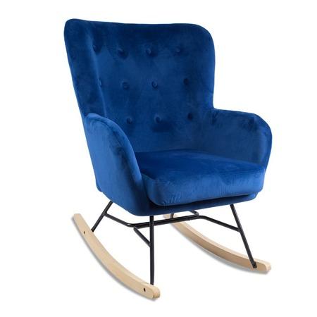 Bujany fotel uszak nowoczesny niebieski