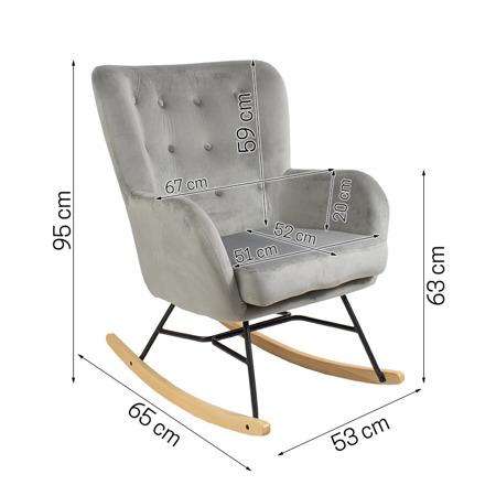 Bujany fotel uszak na płozach  nowoczesny szary