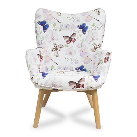 Fotel uszak  wzór motyli styl skandynawski