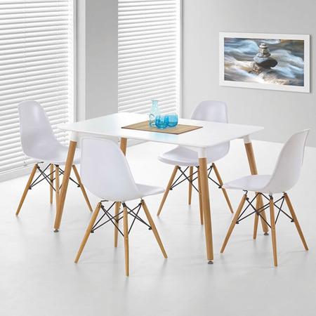 Nowoczesny biały stół prostokątny, drewno bukowe 120 x 80 cm