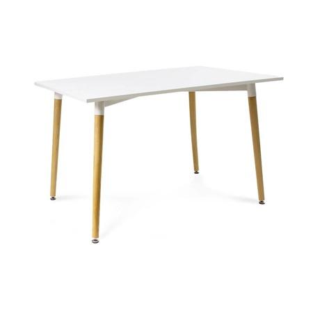 Solidny biały stół ,nogi brązowe,nowoczesny , loftowy 120cm x 80 cm x 71 cm