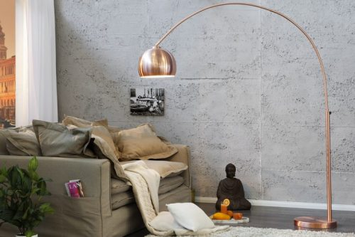 Chromowana lampa podłogowa Lounge Deal stal szczotkowana miedziana