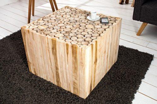 Ręcznie robiony stolik kawowy MOSAIC 60 cm tek