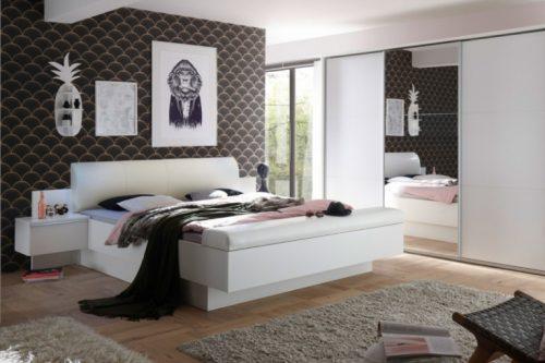 Nowoczesne łóżko STUDIO 180x200 cm białe z stolikami nocnymi i pojemnikiem na łóżko