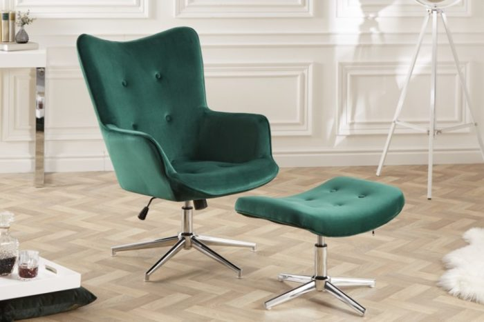 Elegancki stołek MR. zielony aksamit