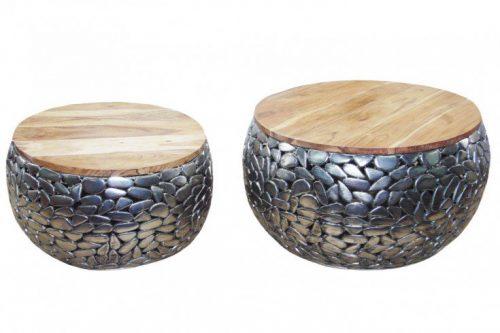 Stoliki kawowe MOSAIC 65cm  zestaw srebrne