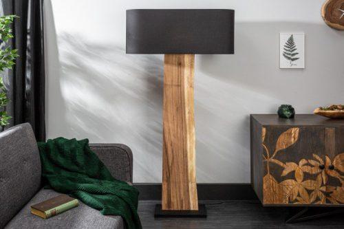 Naturalna lampa podłogowa ORGANIC LIVING 163 cm drewno orzechowe czarny klosz