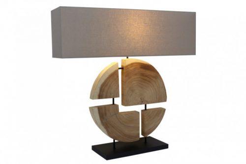 lampa stołowa ORGANIC ARTWORK 80 cm drewno orzechowe z abażurem lnianym