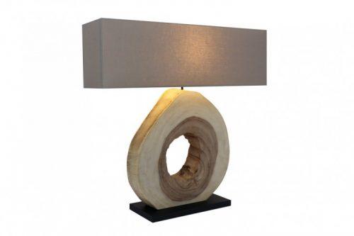Naturalna lampa stołowa ORGANIC ARTWORK 92 cm drewno orzechowe z lnianym kloszem