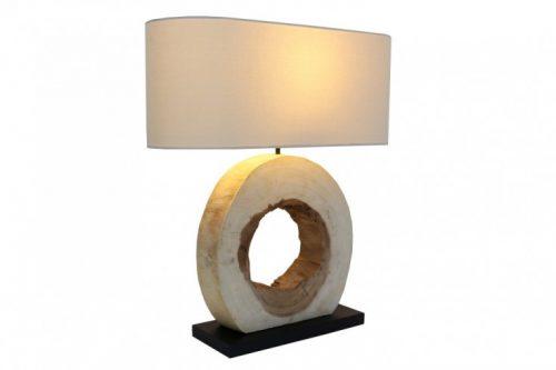 Naturalna lampa stołowa ORGANIC ARTWORK 61 cm drewno orzechowe z abażurem lnianym
