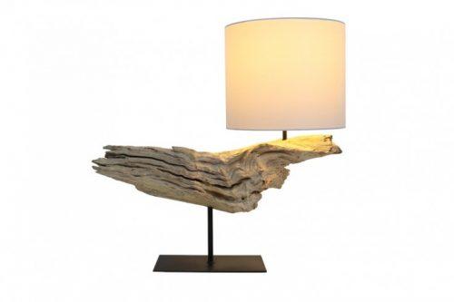 Naturalna lampa stołowa ORGANIC ARTWORK 70 cm z okrągłym bawełnianym kloszem