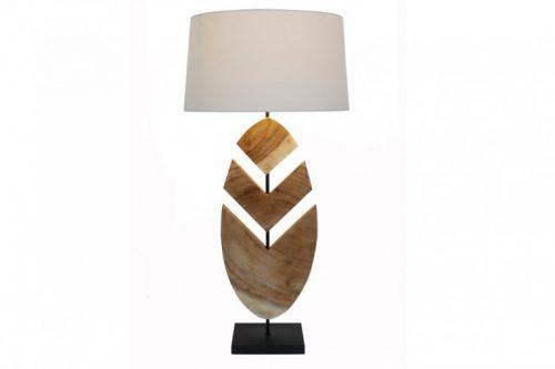 lampa stołowa ORGANIC ARTWORK 91 cm drewno orzechowe z abażurem lnianym