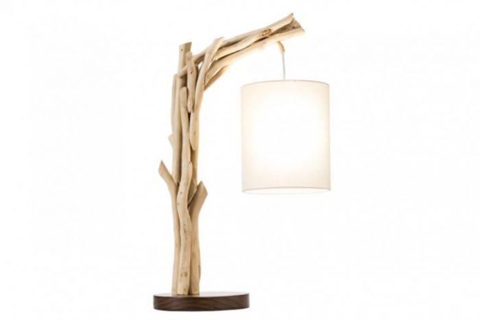 Naturalna lampa stołowa WILD NATURE 60 cm bawełniany abażur