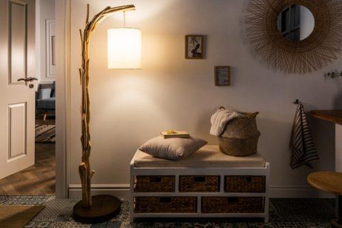 Naturalna lampa podłogowa WILD NATURE 161 cm bawełniany abażur