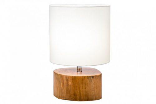 Naturalna lampa stołowa PURE NATURE 36 cm mahoń z abażurem lnianym