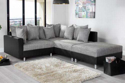 Nowoczesna sofa narożna LOFT 220 cm szaro-czarna z podnóżkiem i poduszkami